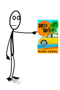 Stick figure pointing to book